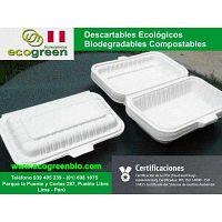 Envases biodegradables Lima Pueblo Libre Perú ECOGREENBIO para delivery de alimentos