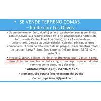 VENTA DE TERRENO COMAS (Limite de Los Olivos) Único dueño